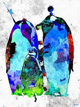 Penguin Family Grunge by Daniel Janda