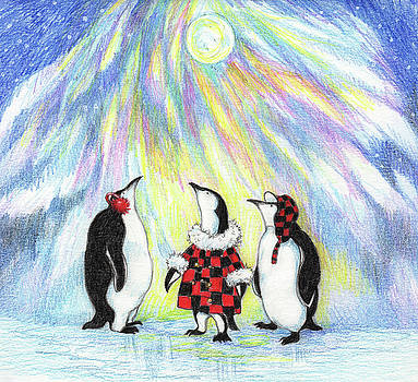 Penguins with Northern Lights by Peggy Wilson