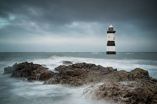 Penmon Lighthouse - Turbulent Tide, Anglesey - North Wales by Christine Smart