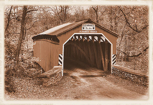 Pennsylvania Country Roads - Fleishers Covered Bridge Over Big Buffalo Creek Sepia - Perry County by Michael Mazaika