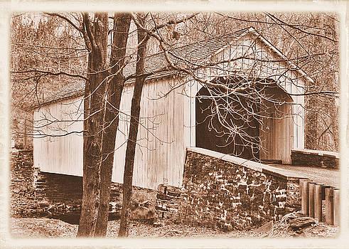Pennsylvania Country Roads - Loux Covered Bridge Over Cabin Run Creek No. 2AS - Autumn Bucks County by Michael Mazaika