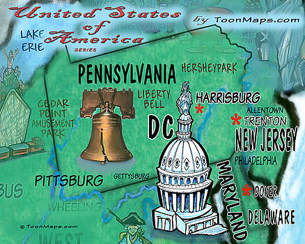 Pennsylvania Fun Map by Kevin Middleton