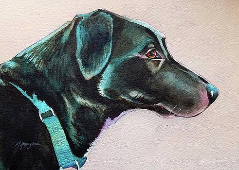 Pensive Black Dog by Rachel Armington