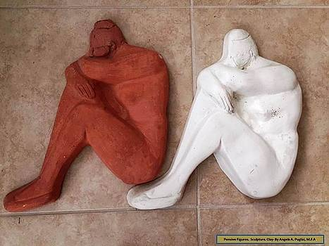 Pensive Figures Clay by Angela Puglisi