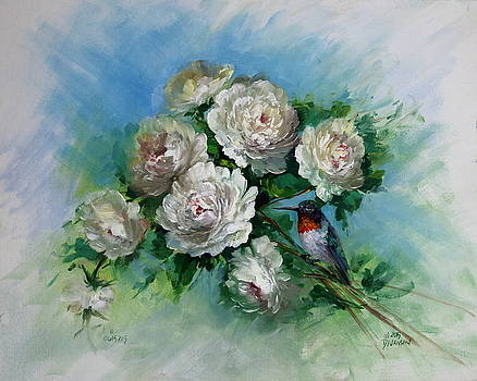 Peonies and Hummingbird by David Jansen