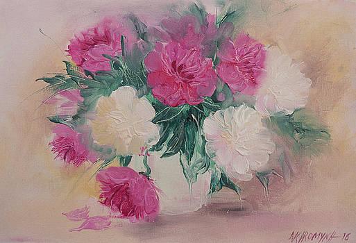 Peonies In A Vase-3 by Khromykh Natalia