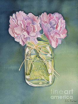 Peonies in Green Glass Jar by Jordan Parker