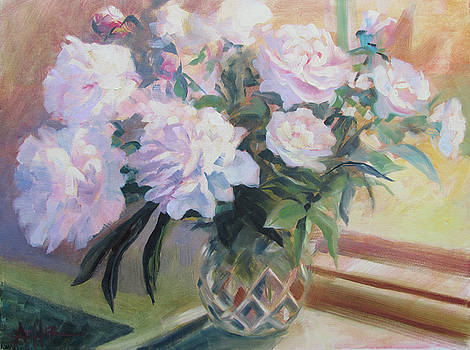 Peonies in the Cut Glass Vase by Azhir Fine Art