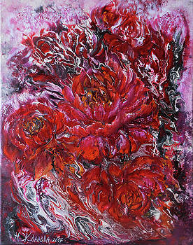 Peonies red and black in the abstract style by Natalya Zhdanova