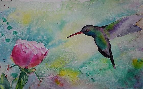 Peony and hummingbird by Ruth Kamenev