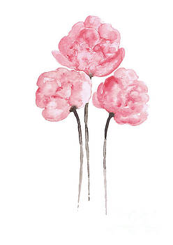 Peony Bouquet Anniversary Woman Art Print, Pink Paper Flower Watercolor Painting by Joanna Szmerdt