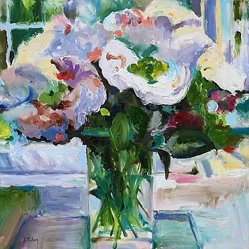 Peony Bouquet Impressionism Painting in Square Format by Donna Tuten