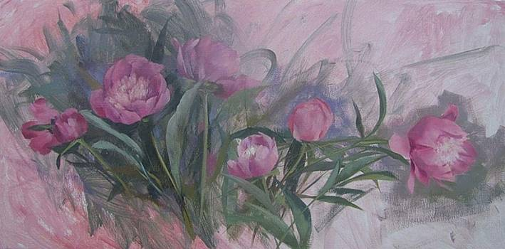 Peony Oil Sketch by Kelly Lanning Phipps