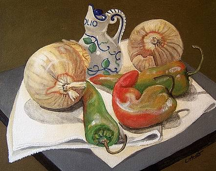 Peppers and Onions by Laura Aceto