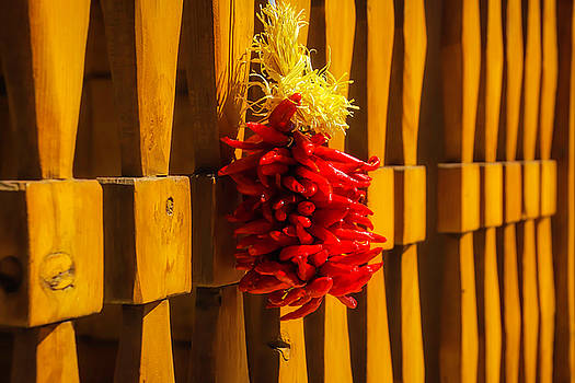 Peppers Hanging On Wooden Gate by Garry Gay