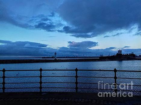 Perch Rock Lighthouse and Fort in Blue by Joan-Violet Stretch