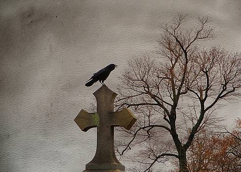 Perched Crow On A Gothic Cross  by Gothicrow Images