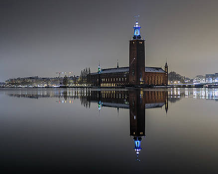 Perfect Stockholm City Hall Night Reflection by Dejan Kostic