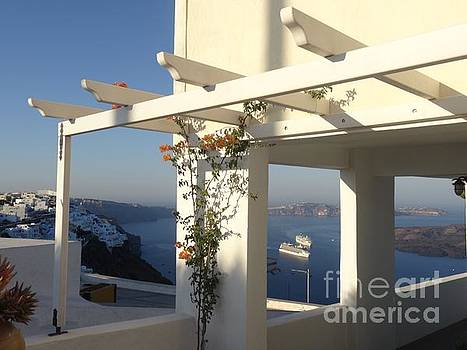 Pergola view over Santorini caldera by Mitzisan Art LLC