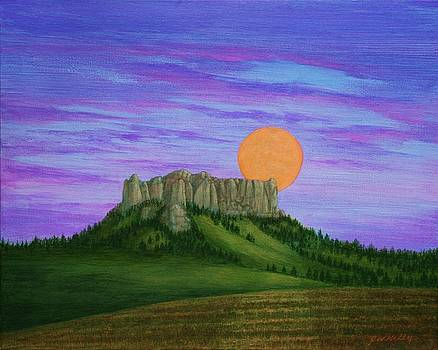 Perigee Moon Rising above Crow Butte by J W Kelly