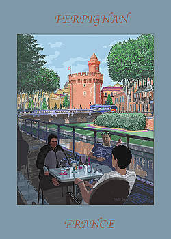Perpignan Cafe Poster by Philip Gianni