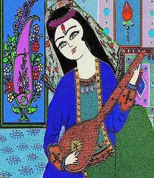 Persian Girl Playing Setar by Mehdi Mehrvarz