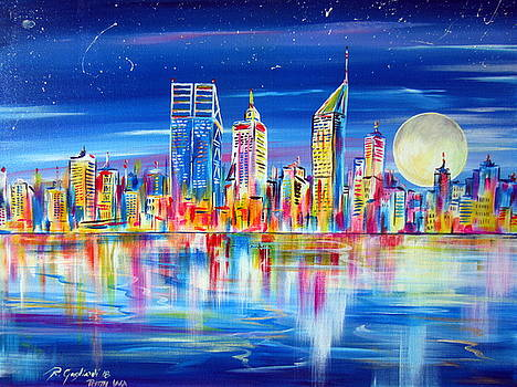 Perth under the moon reflections on the Swan river by Roberto Gagliardi
