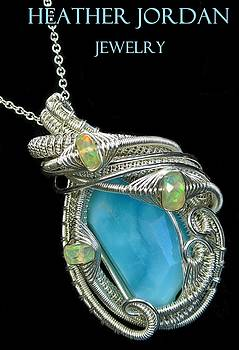 Peruvian Blue Opal Pendant in Tarnish-Resistant Sterling Silver with Ethiopian Welo Opals by Heather Jordan