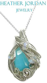 Peruvian Blue Opal Pendant in Tarnish-Resistant Sterling Silver with Rainbow Moonstone by Heather Jordan