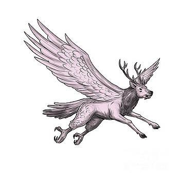 Peryton Flying Side Tattoo by Aloysius Patrimonio