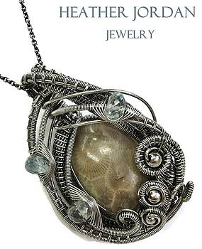 Petoskey Stone Wire-Wrapped Pendant in Antiqued Sterling Silver with Aquamarine by Heather Jordan