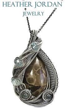 Petoskey Stone Wire-Wrapped Pendant Necklace in Antiqued Sterling Silver with Aquamarine by Heather Jordan