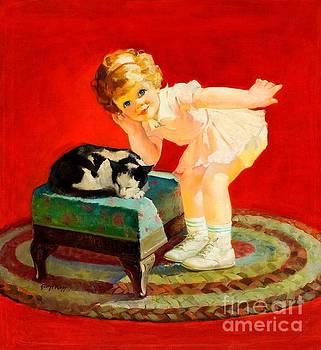 Peter Gumaer Ogden - Petting the cat george leslie rapp 1920