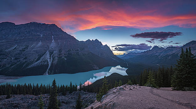 Peyto lake at dusk by William Freebillyphotography