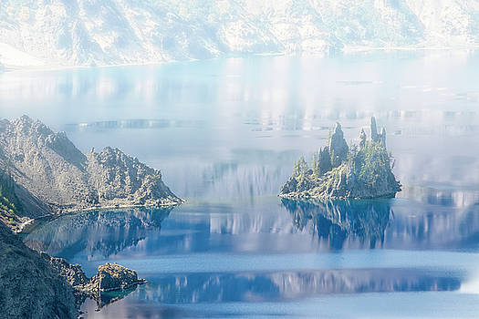 Phantom Ship Island in Mist at Crater Lake by Frank Wilson