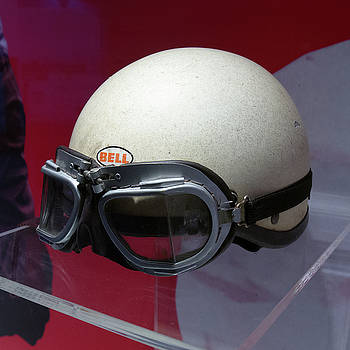 Phil Hill helmet and racing goggles left Museo Ferrari by Paul Fearn