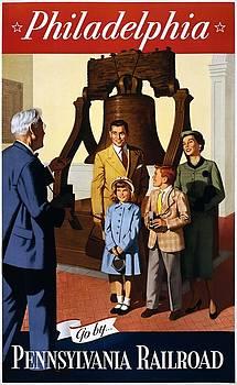 Philadelphia Go by Pennsylvania Railroad, travel poster, 1955 by Vintage Printery