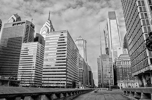 Philadelphia - Looking Up JFK BLVD in Black and White by Bill Cannon