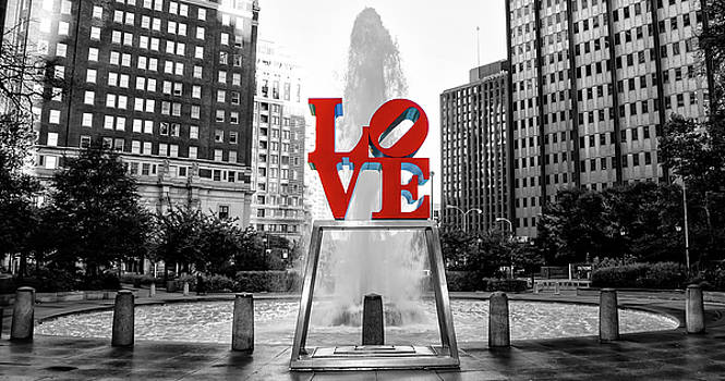 Philadelphia - Love Statue - Black and White and Color by Bill Cannon