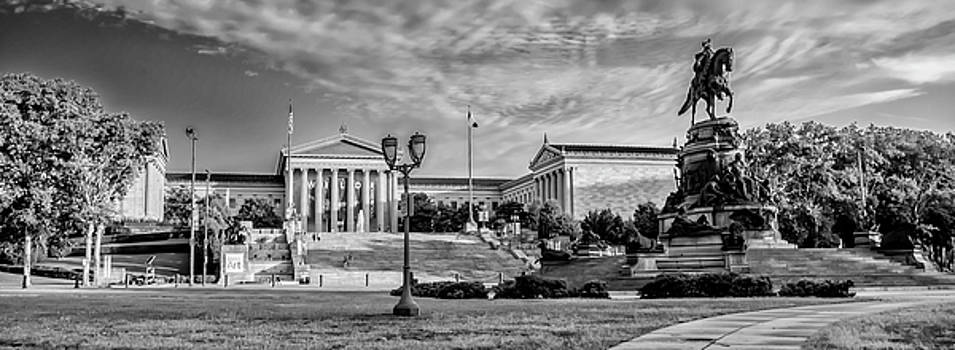 Philadelphia Sights - The Museum of Art Panorama in Black and Wh by Bill Cannon