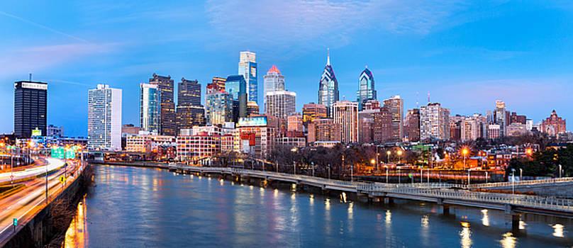 Philadelphia skyline panorama at dusk by Mihai Andritoiu
