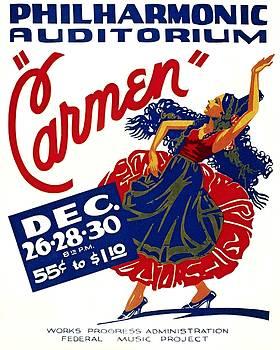 Philharmonic Auditorium Carmen, WPA poster, 1939 by Vintage Printery