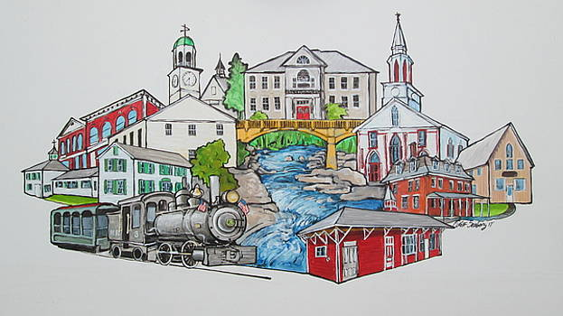Phillips, Maine Collage by Jeff Seaberg