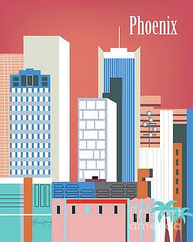 Phoenix Arizona Vertical Skyline by Karen Young