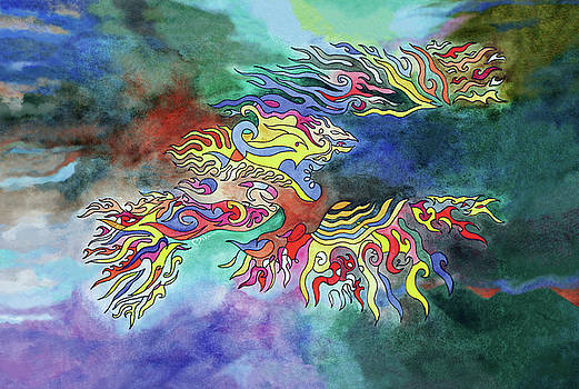 Phoenix Rising Watercolor by Miko At The Love Art Shop