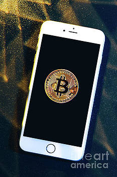 Michal Bednarek - Phone with a bitcoin laying on top of it.