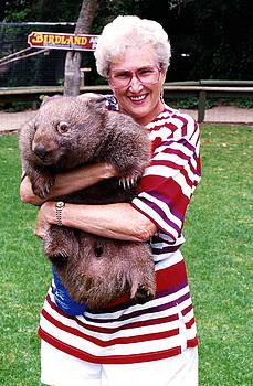 Phyllis holding thirty pound Wombat Australia by Phyllis Kaltenbach