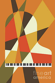 Piano Abstract Orange by Benjamin Harte