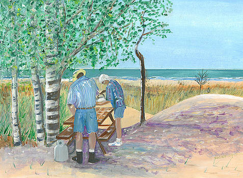 Picnic on Lake Huron - painting by Veronica Rickard