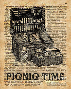 Picnic Time Vintage Illustration Dictionary Book Page Art by Anna W